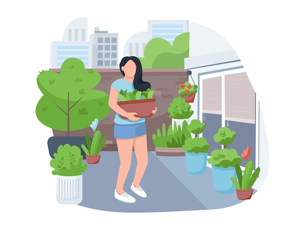 Девушка с цветочным горшком 2d вектор веб-баннер, плакат. женщина с комнатными растениями, плоский персонаж женского флориста на фоне мультфильма. уличное озеленение, озеленение двора, патчи для печати, красочные веб-элементы