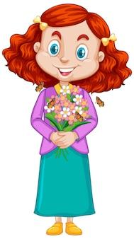 花と白い背景の上の蝶を持つ少女