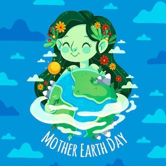 有花的女孩在她的头发母亲地球