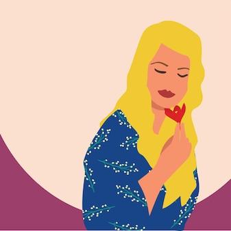 花を持つ少女、ベクトルイラスト。カードやポスターのかわいいフラット漫画テンプレート。国際婦人デー。