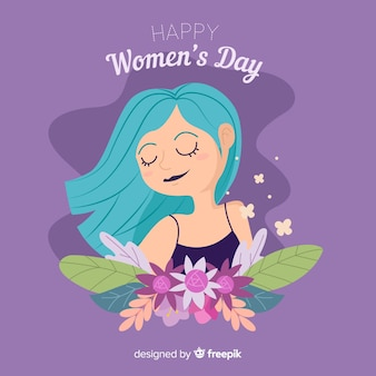 Girl with flowers women's day background