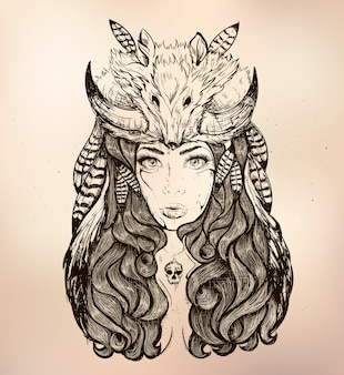 Девушка с лисой на голове