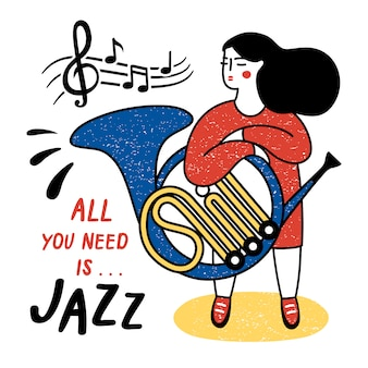 Girl with french horn. vector illustration for the international jazz day