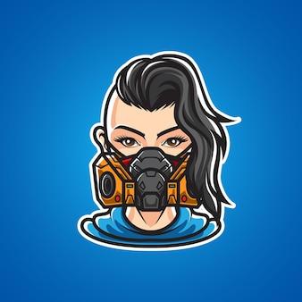 Девушка с логотипом газовой маски