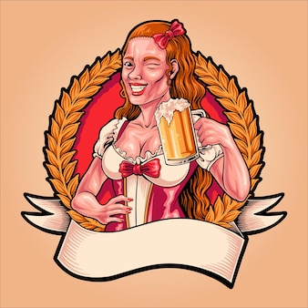 Girl with a glass of beer oktoberfest