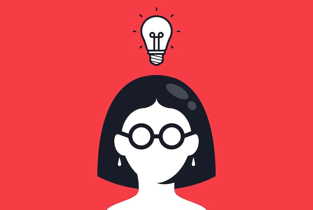 The girl with glasses came up with a brilliant idea answer to the question vector illustration