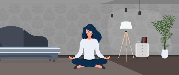 Girl with glasses meditates in the office. the concept of relaxation, meditation, yoga and rest from work. vector.