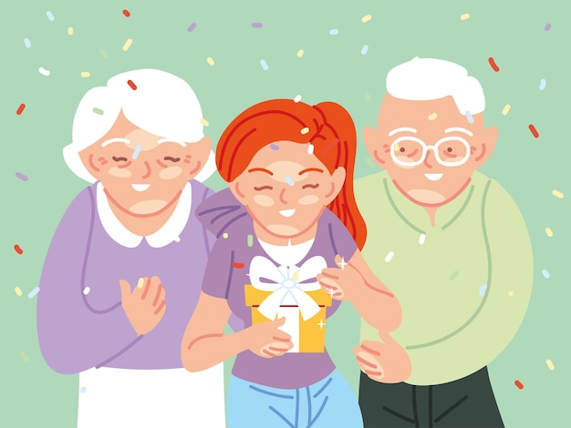 祖父母の漫画のオープニングギフト、お誕生日おめでとうお祝い装飾パーティーお祝いと驚きのテーマイラストを持つ女の子