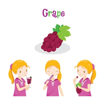Girl with grape fruit, juice, ice cream and letters, tropical fruits, healthy eating