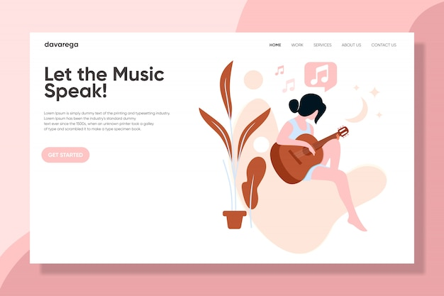 A girl with guitar playing music landing page design