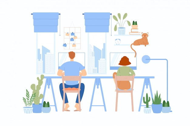 The girl with the guy sitting at the same table and working. freelancer character working at home.
