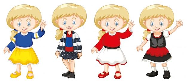 Девушка с счастливым лицом в разных костюмах