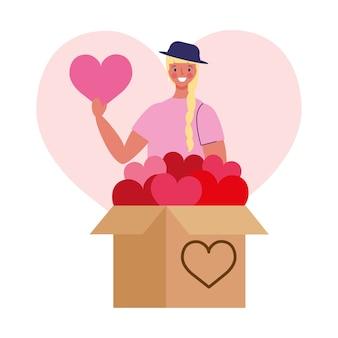 Девушка с коробкой сердца мультфильм