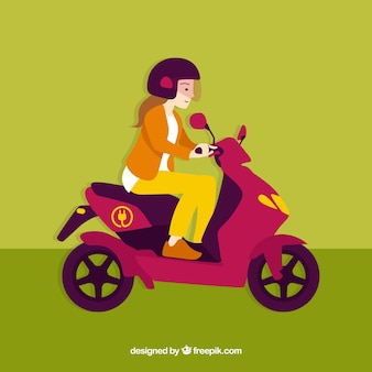 Girl with helmet riding electric scooter