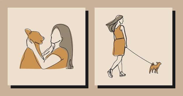 Девушка с собакой oneline непрерывная линия искусства премиум векторы