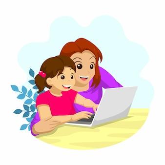 가정 활동에서 온라인 학교를 배우는 그녀의 어머니와 소녀, 노트북 앞에서 공부