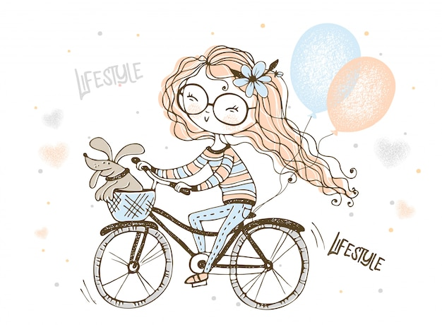 A girl with her pet dog rides a bicycle with balloons.