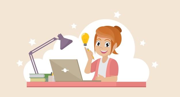 Девушка с ноутбуком, выражая свой успех концепция образования