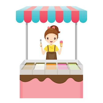 Girl with ice cream shop, frozen food