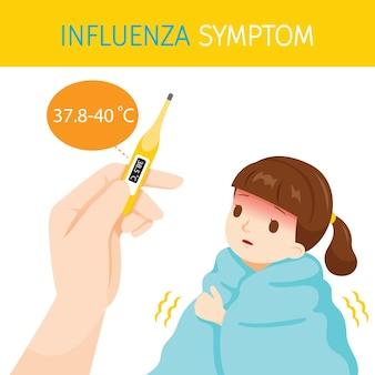 체온이 높은 인플루엔자 증상이있는 소녀 프리미엄 벡터