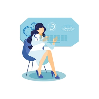 Girl with interactive display flat illustration