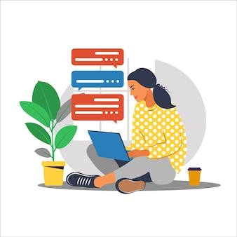Девушка с ноутбуком на кресле. работаю на компьютере. фриланс, онлайн-образование или концепция социальных сетей. работа из дома, удаленная работа. плоский стиль. синий салон.