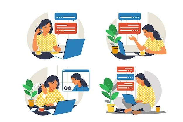 안락의 자에 노트북 소녀입니다. 컴퓨터에서 작업. 프리랜서, 온라인 교육 또는 소셜 미디어 개념. 재택 근무, 원격 근무