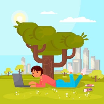 Girl with laptop in park flat illustration