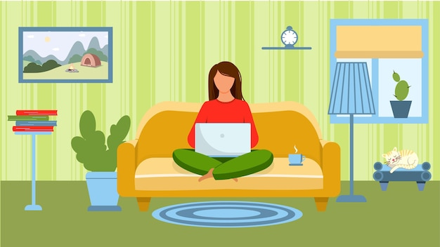 A girl with a laptop sits on the couch, in the room. vector illustration