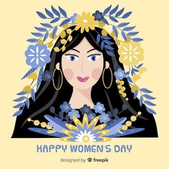 Ragazza con foglie sullo sfondo del giorno delle donne dei capelli