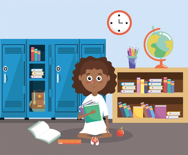 Girl with lockers and education books in the classroom
