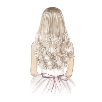 긴 금발 머리를 가진 소녀 손으로 그린 그림