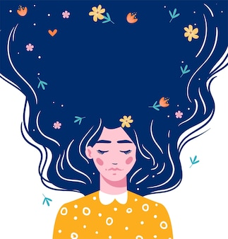 Girl with long hair with space for your text. hand drawn long hair beautiful girl with flowers. modern  illustration. template for cards, greetings, flyer, banner.