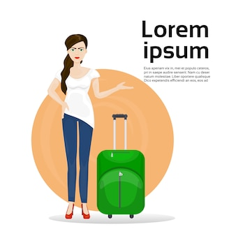 Girl with luggage suitcase. travel and tourism concept