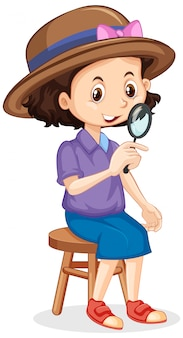 Girl with magnifying glass on isolated