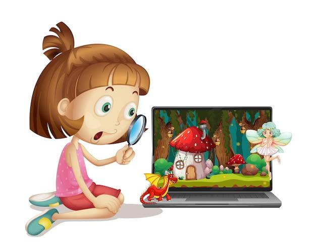Девушка с увеличительным стеклом, глядя на ноутбук