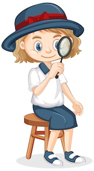 Girl with magnifying glass sitting on white