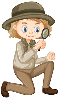 Girl with magnifying glass on white
