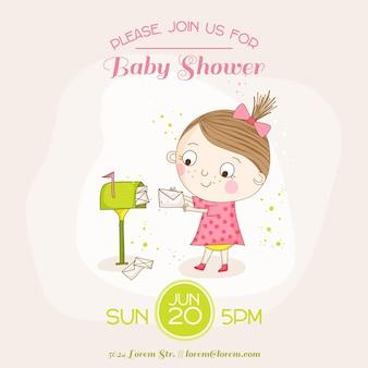 Девушка с почтой открытка на детский душ