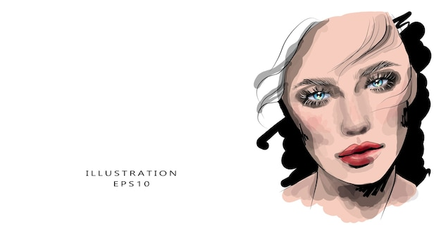 化粧と美しい目を持つ少女