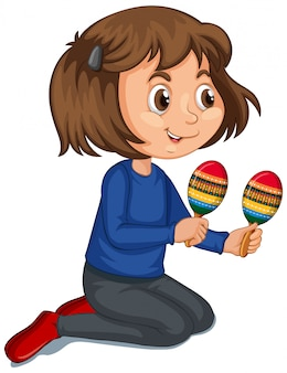 Girl with maracas on isolated background