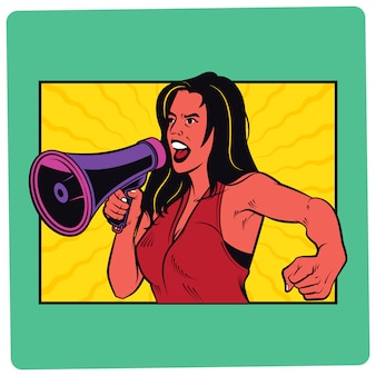 Girl with megaphone comic illustration
