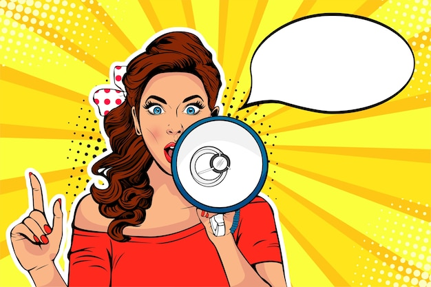 Girl with megaphone pop art vector illustration