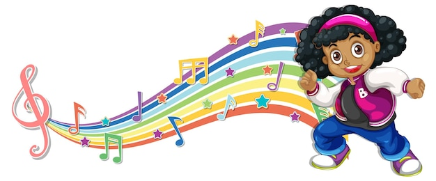 Girl with melody symbols on rainbow wave