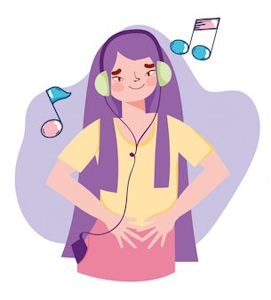 Girl with mp3 and headphone listening music notes