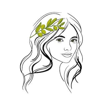オリーブの花輪の肖像画を持つ少女