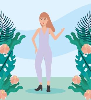 Девушка с цельной повседневной одеждой и прической Бесплатные векторы