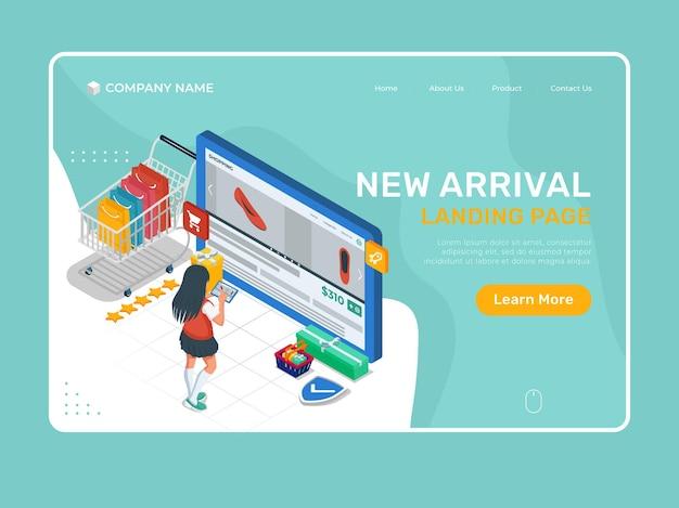 태블릿 장치에서 온라인 상점 제품 인터페이스를 가진 소녀입니다. 온라인 상점 방문 페이지 템플릿입니다.