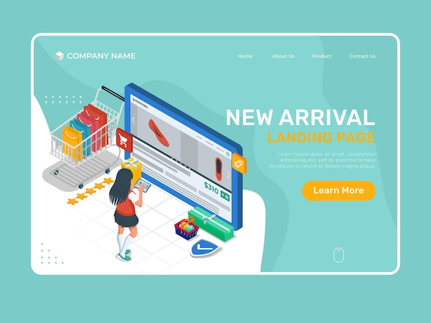 Girl with online store product interface at tablet device. online shop landing page template.