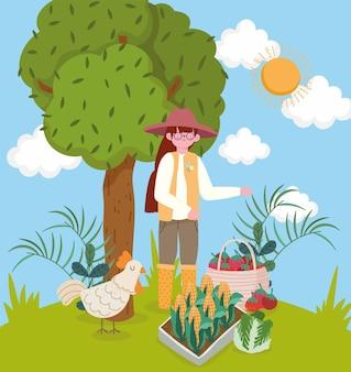유기농 식품을 가진 소녀